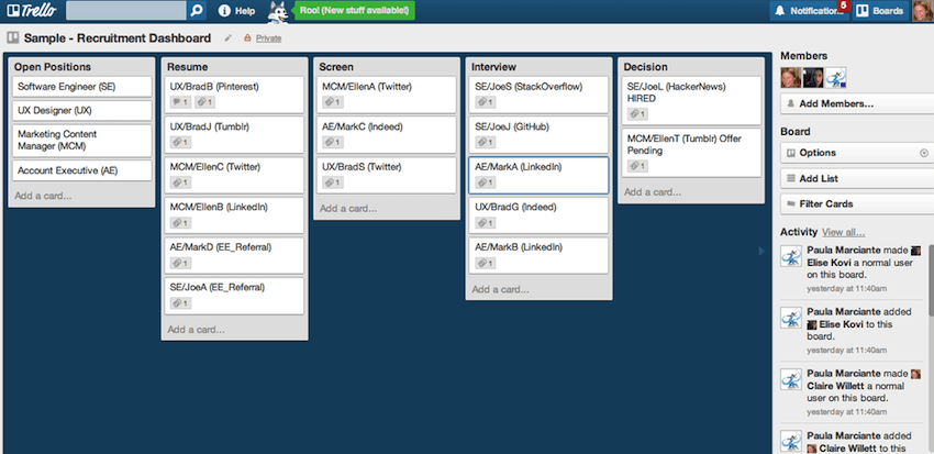 Trello recruiting board