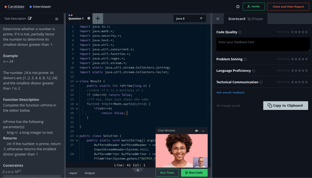 HackerRank interface